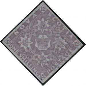 Lot 263, Nova Scotia 1851 one shilling cold violet imperf, sold for $7360