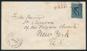 Lot 14, Canada 1856 ten pence blue Cartier imperf with re-entry, on cover Québec to New York City