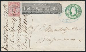 Lot 255, Vancouver Island five cent rose uprating a ten cent green Washington stationery cover, sold for $3105