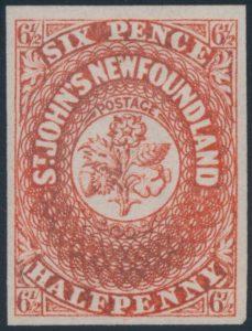 Lot 274, Newfoundland 1857 6-1/2 pence scarlet vermilion, XF mint