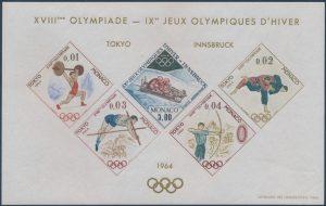 Lot 365, Monaco 1964 souvenir sheets, Tokyo & Innsbruck Olympics