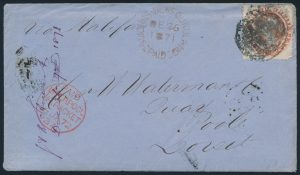 Lot 564, Newfoundland 1871 twelve cent pale red brown Victoria cover to England, sold for $489