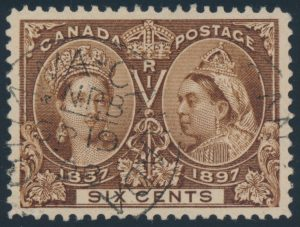Lot 78, Canada 1897 six cent yellow brown Jubilee, XF used with Ottawa datestamp