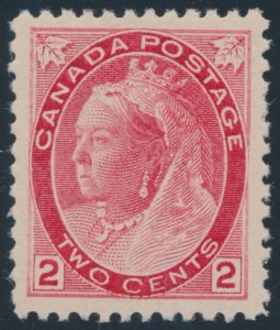 Lot 111, Canada 1899 two cent carmine Queen Victoria Numeral, die I, VF NH, sold for $172