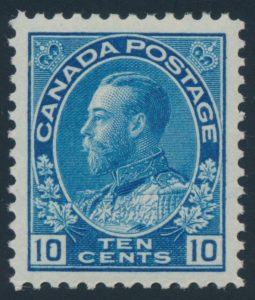 Lot 145, Canada 1922 ten cent blue Admiral wet printing, XF NH, sold for $276