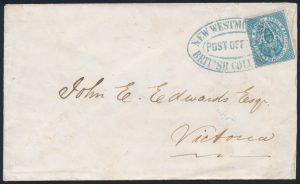 Lot 256, British Columbia 1866 three pence pale blue on cover, sold for $1322