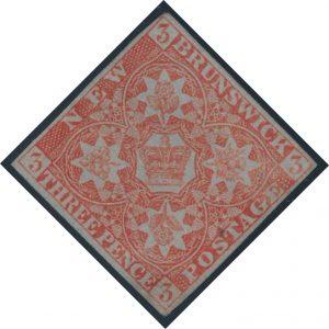 Lot 259, New Brunswick 1851 three pence red Heraldic, F-VF o.g., $2645