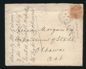 Lot 512, Canada 1891 letter Belleville to Ottawa, sold for $184