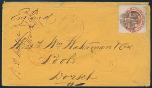 Lot 565, Newfoundland 1872 twelve cent pale red brown on cover to Liverpool, sold for $264