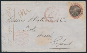 Lot 568, Newfoundland 1869 12c pale red brown on cover to England, $196