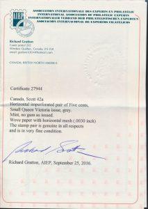 2016 Richard Gratton Certificate