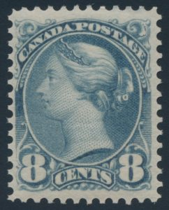 Lot 65, Canada 1893 eight cent blue grey Small Queen, F-VF NH, sold for $1438