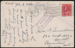 Ex-Lot 675, Royal Canadian Navy WW1 postal history collection, sold for $1035