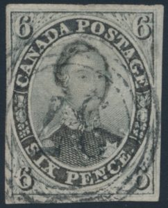 Lot 11, Canada 1855 six pence brownish grey Consort imperf, VF used with Québec 4-ring, sold for $1150