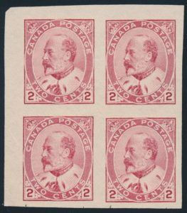 Lot 124, Canada 1903 2c carmine KEVII inperf corner block VF NG, sold $920