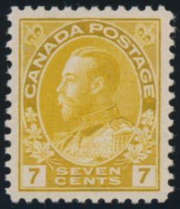 Lot 143, Canada 1913 seven cent olive bistre Admiral, XF NH, sold for $253