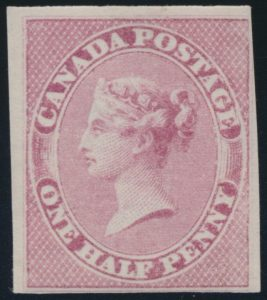 Lot 15, Canada 1857 half pence rose Queen Victoria imperf, Fine NH, sold for $978