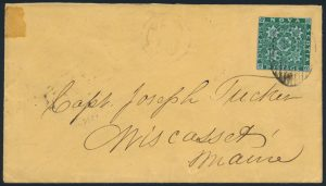 Lot 269, Nova Scotia 1860 six pence dark green imperf on cover to Maine, sold for $1208