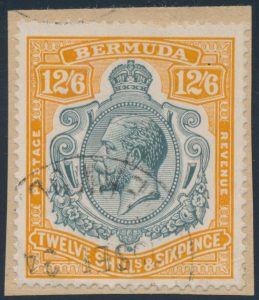 Lot 308, Bermuda 1932 12sh/6d King George V used on piece, sold for $242