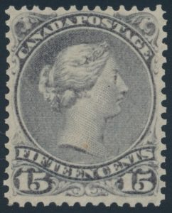 Lot 52, Canada 1868 fifteen cent violet grey Large Queen, VF NH, sold for $460