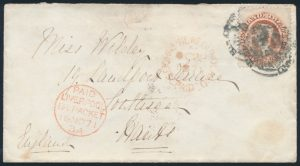 Lot 559, Newfoundland 1871 twelve cent pale red brown Victoria cover to Liverpool, sold for $138