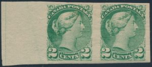 Lot 58, Canada 1890 two cent green Small Queen imperf F-VF pair on yellowish paper, $632