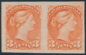 Lot 63, Canada 1891 three cent rose vermilion Small Queen imperf VF NG pair, sold for $460