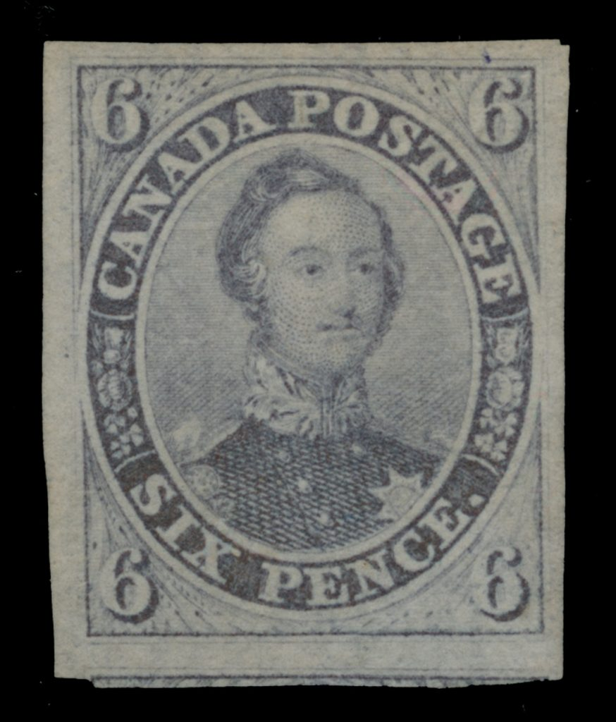 Lot 2 Canada #2b 1851 6d brown purple Consort Imperforate on Laid Paper, VF unused.