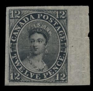 Lot 3, Canada #3 1851 mint 12d black Queen Victoria Imperforate on Laid Paper