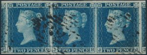 Lot 326, Great Britain 1841 two pence blue used strip of three, watermark small crown, sold for $196