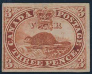 Lot 11, Canada 1852 red three penny beaver imperf, VF unused
