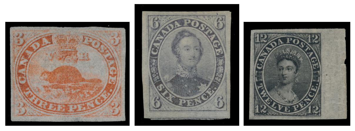 1851 3d orange red Beaver Imperforate on Laid Paper, 1851 6d brown purple Consort Imperforate on Laid Paper, 1851 12d black Queen Victoria Imperforate on Laid Paper