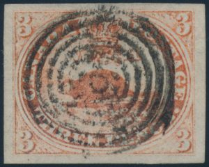 Lot 4, Canada 1851 three penny beaver imperf on laid paper, used with target cancel
