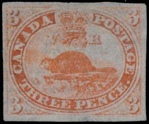 Lot 1, Canada 1851 three penny orange red beaver imperforate on laid paper, mint