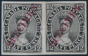 Lot 10, Canada 1851 twelve penny black plate proof pair with diagonal SPECIMEN