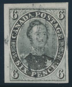 Lot 21, Canada 1855 6d slate grey Consort Imperforate, used