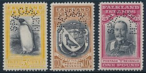Lot 312, 1933 Falkland Islands King George V set perforated SPECIMEN