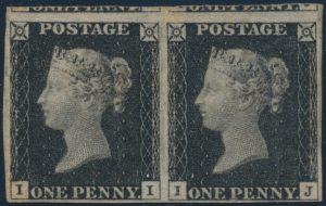 Lot 321, Great Britain 1840 penny black, plate 2 unused VF pair