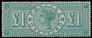 Lot 343, Great Britain 1891 one pound green Victoria, VF mint