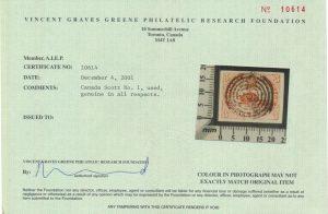 2001 VG Greene certificate