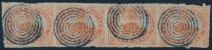 Lot 6, Canada 1851 three penny orange red beaver on laid paper, imperf used strip of four, sold for $3220