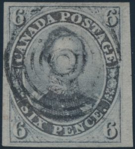 Lot 7, Canada 1851 six pence slate violet Consort imperf on laid paper, used