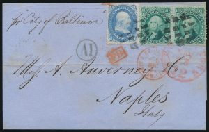 Lot 850, USA 1867 one cent Franklin & ten cent green Washington pair, on cover New York to Naples, Italy