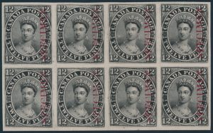 Lot 9, Canada 1851 12 penny black plate proof block of eight with Specimen overprint