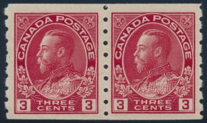 Lot 121, Canada 1924 three cent carmine Admiral, wet printing, Die 1, XF NH pair, sold for $460