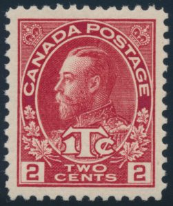 Lot 139, Canada 1916 2c + 1c carmine Admiral War Tax, Die II XF NH, sold for $1610