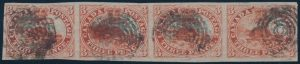 Lot 14, Canada 1852 three penny beaver strip of four, VF used with target cancels, sold for $1495