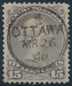 Lot 49, Canada 1898 fifteen cent grey violet Large Queen, XF used, sold for $805