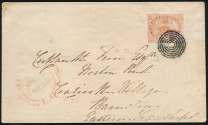 Lot 5, Canada 1851 three penny red beaver on laid paper, 1852 cover Québec City to Coaticook, sold for $1552