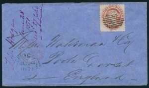 Lot 702 cover 1—1871 Newfoundland twelve cent pale red brown Victoria cover Fogo to Twillingate to Poole England